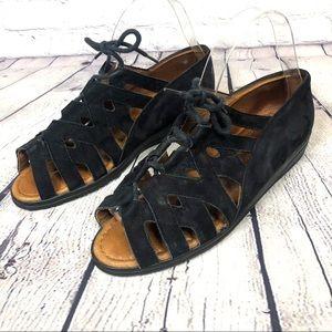 Beautifeel Edyta Black Suede Lace Up Sandals